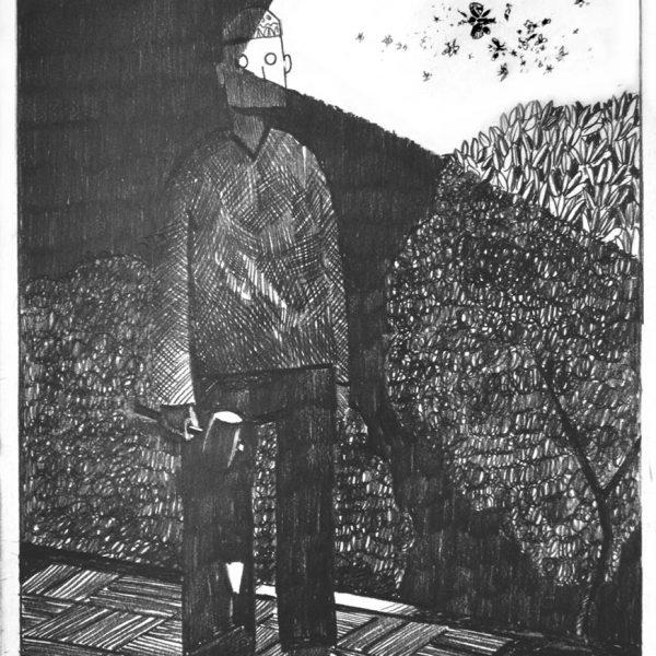 Graveyard shift. Drawing by Nikolay Rybak. Original art for sale.