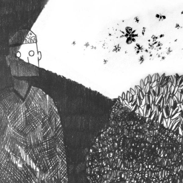 Graveyard shift. Fragment of drawing by Nikolay Rybak. Original art for sale.