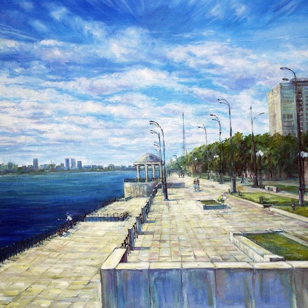 Riverfront. Painting by Anna Maximenko. Original Art for Sale.