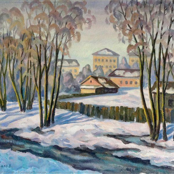 Original Art for sale. Untitled (Township) by Vasily Shvedko 1989