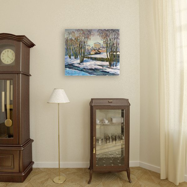 Original Art for sale. Untitled (Township) by Vasily Shvedko 1989 mounted in interior