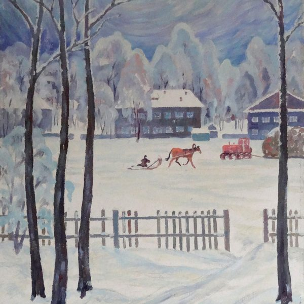Painting. Winter Landscape by Vasily Shvedko. Original Art for Sale